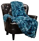 "Chanasya Faux Fur Sherpa Throw Blanket | Color Variation Marble Print | Super Soft Shaggy Fuzzy Fluffy Elegant Cozy Plush Microfiber Blue Blanket for Couch Bed Living Room - (50"" x 65"")"