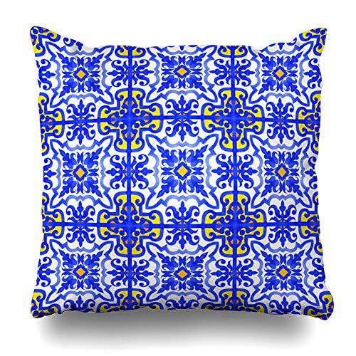 (Ahawoso Decorative Throw Pillow Cover Glaze Watercolor Adha Portuguese Azulejo Tiles Blue White Gorgeous Geo Vintage Eid Andalusia Zippered Design 18