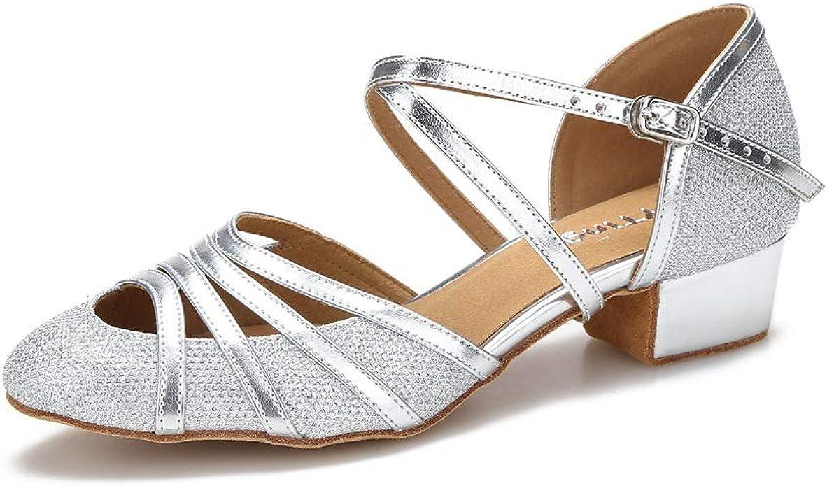Yokala Ballroom Dance Shoes Lets Stay Home Dance Women Latin Salsa Practice Open-Toe Sandals 2.5 Inch Heels S01