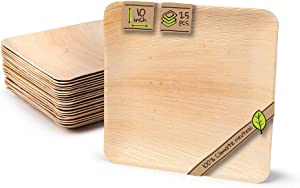 """Naturally Chic Compostable Biodegradable Disposable Plates - Palm Leaf 10"""" Square Small Dinnerware Set - Eco Friendly Alternative - Party, Wedding, Event Plates (25 Pack)"""