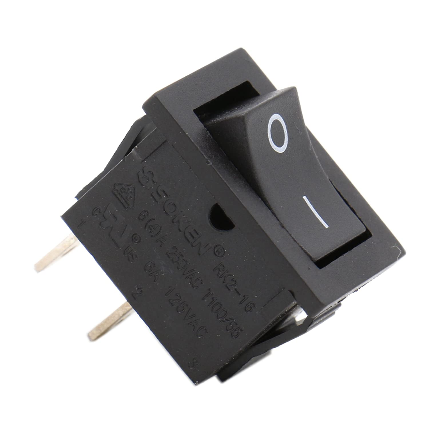 Heschen Black Rectangle Rocker Switch ON-OFF SPST 2 Position 2 Terminals 6A 250VAC/125VAC UL VDE 5Pack Ningbo Master Soken Electrical Co.Ltd HS-RK2-14