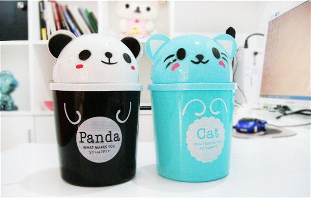 Tama/ño DaoRier Cubo de basura mini papelera de escritorio escritorio de animales de dibujos animados cubierto peque/ña basura 18cm 11 uno para la venta