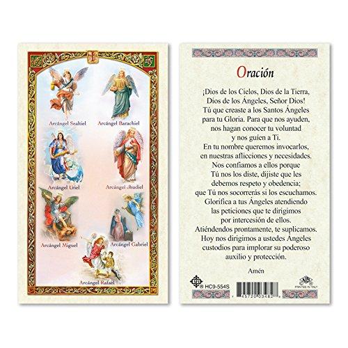 Oracion A Los Siete Arcangeles Miguel Rafael Uriel Gabriel Jhudiel Barachiel And Sealtiel Tarjeta Laminada