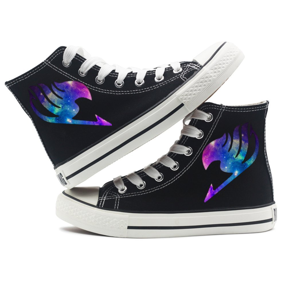Fairy Tail Anime Logo Canvas Shoes Cosplay Shoes Sneakers Black/ White