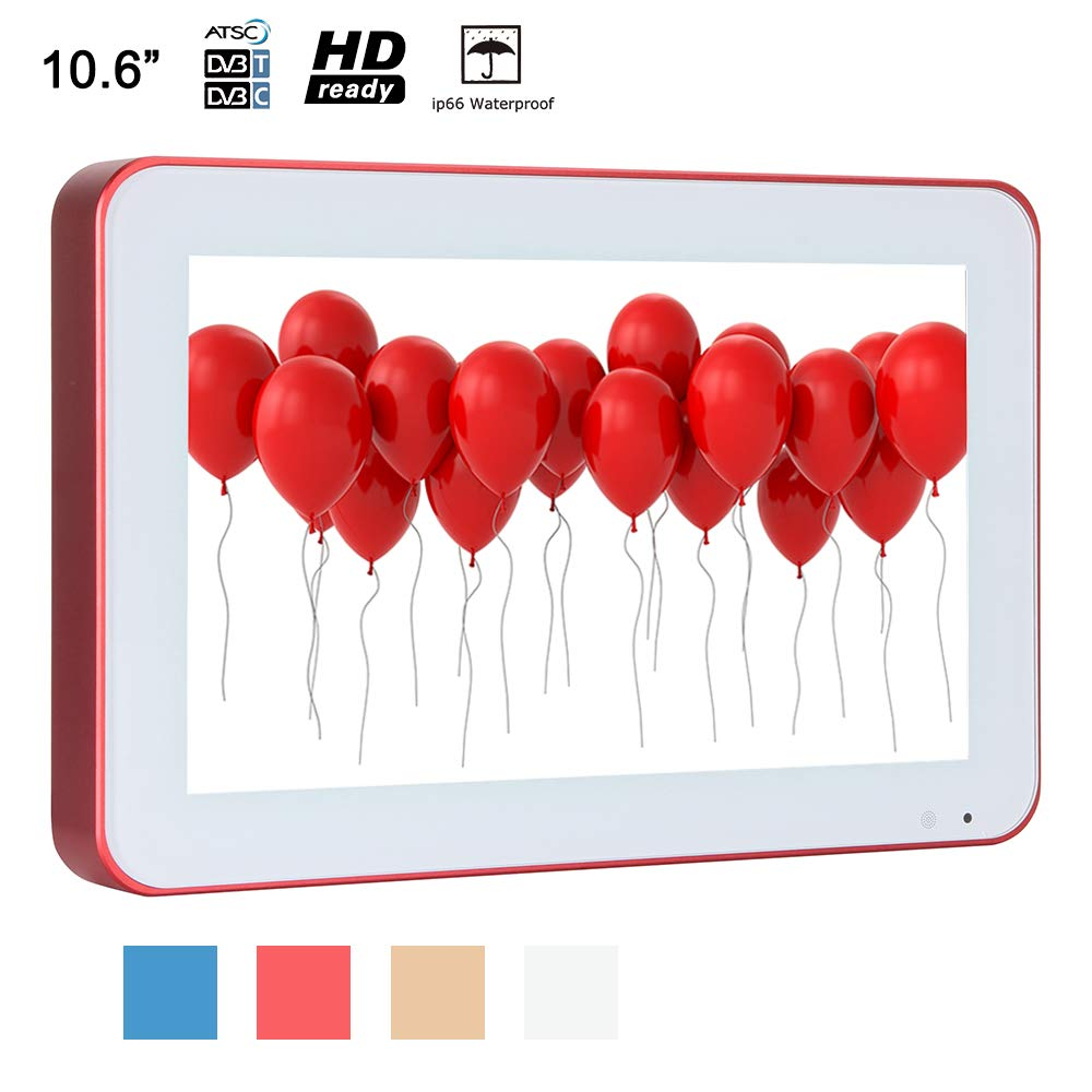 Soulaca 10.6 inches Sauna Wall Mounted Water-Resistant Red Frame Small LED IP66 Waterproof TV