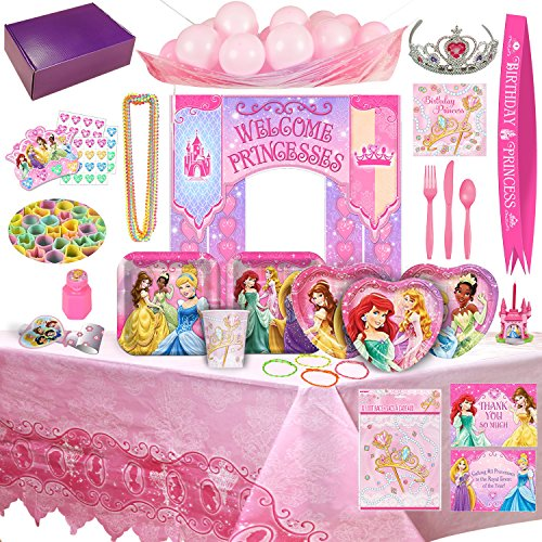 Disney Party Supplies (Disney Princess Birthday Party Supplies & Decorations - 8 Guests (177 Pieces))