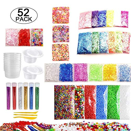 (TODAYTOP 52 Pack Slime Making Kit DIY Foam Ball Granules Flat Beads Gold Powder Candy Paper Polymer Clay Set Best Gift for Kids)