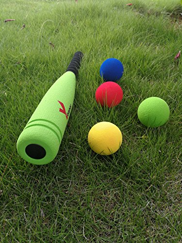 "Youper Super Safe Foam T-Ball Set w/ 1 Bat & Ball, Baseball Bat Toys for Kids (21"", 4 Balls)"