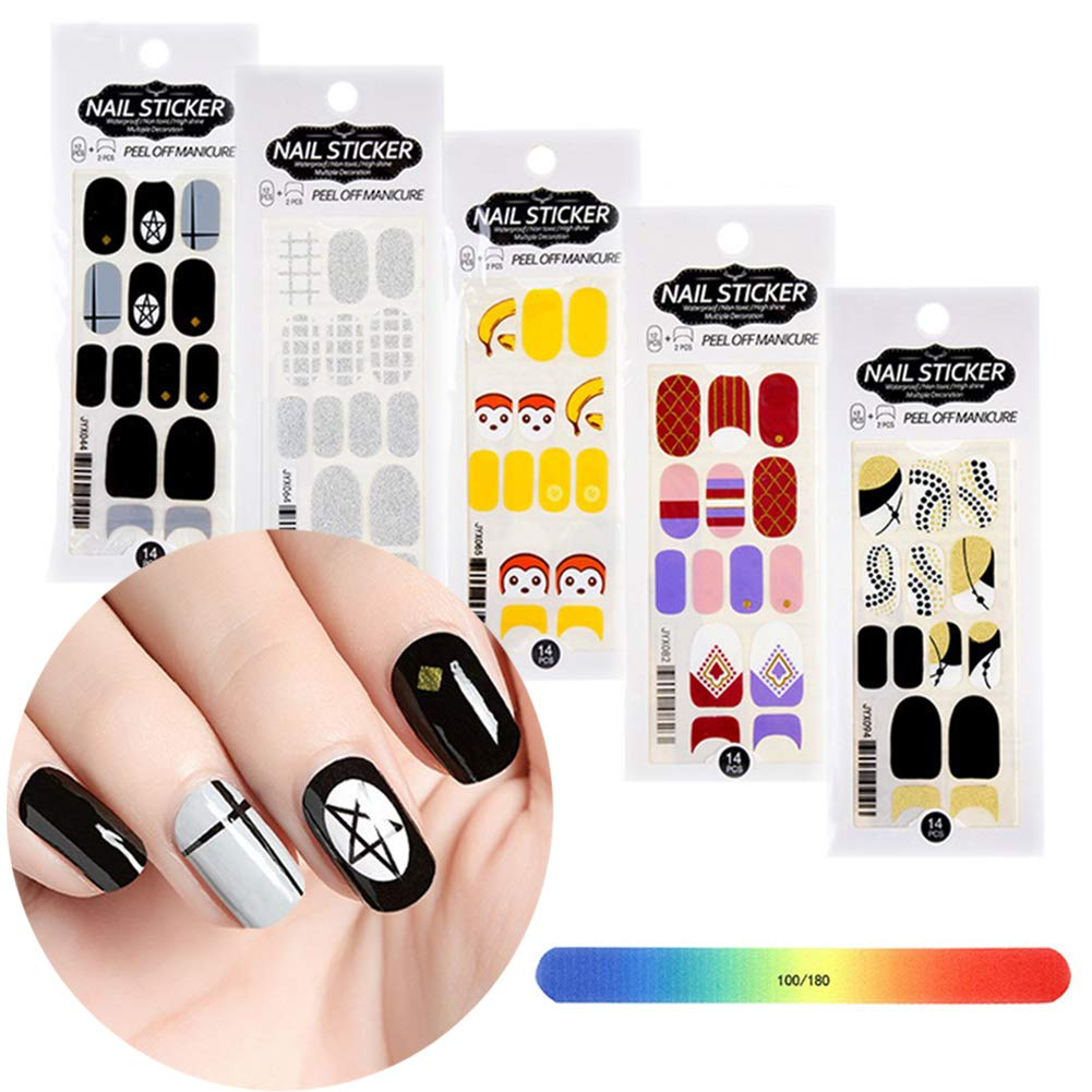 BornBeauty Nail Sticker Designs Set Adhesive Nail Art Wraps for Women Fingers and Toes DIY Manicure Kits by BornBeauty