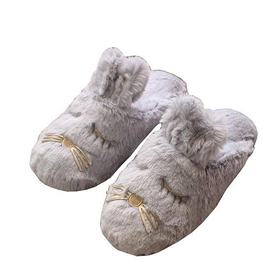 Gysad Zapatillas casa Forma de conejo Pantuflas mujer invierno Interesante y lindo Zapatillas casa mujer invierno Cálido y confortable Pantuflas mujer ...