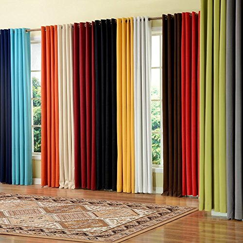 PASSENGER PIGEON Modern Luxury Velvet Curtain Soft Fabric Rainbow Color Grommet Top 100% Thermal Blackout White Window Treatment Curtains Panel Draperies 100' W x 96' L (One Panel)