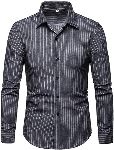 Mr.BaoLong&Miss.GO Camisas A Rayas De Otoño para Hombres ...