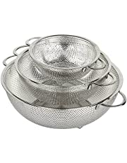 Set of 3 Dishwasher Safe Stainless Steel Micro-Perforated Colander for Food Prep - Nesting Fine Mesh Pasta Strainer perfect for washing, rinsing or draining Spaghetti and Rice by holm
