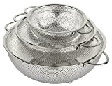 : holm 3-Piece Stainless Steel Mesh Micro-Perforated Colander Set (1-Quart, 2.5-Quart and 4.5-Quart)
