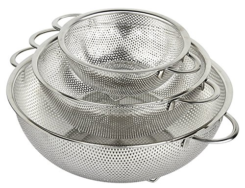 Stainless Steel Large Colander - HÖLM 3-Piece Stainless Steel Mesh Micro-Perforated Strainer Colander Set (1-Quart, 2.5-Quart and 4.5-Quart)