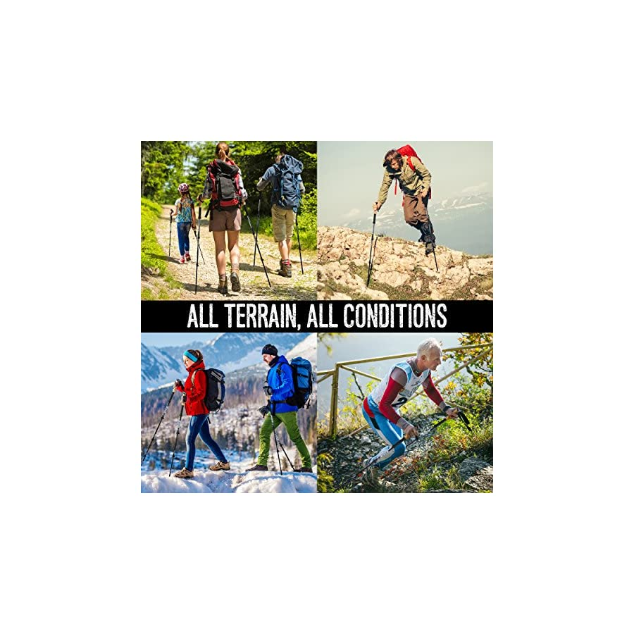 Foxelli Trekking Poles – Collapsible, Lightweight, Shock Absorbent, Carbon Fiber Hiking, Walking & Running Sticks with Natural Cork Grips, Quick Locks, 4 Season/All Terrain Accessories and Carry Bag