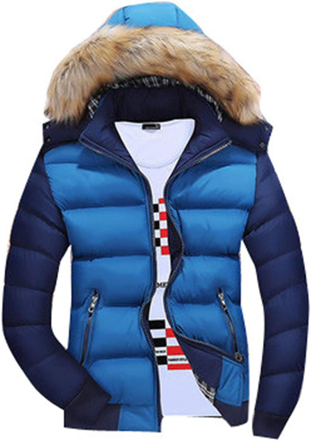 Soluo Men's Winter Thicken Coat Faux Fur Lined Jacket with Removable Hood Outerwear Overcoat