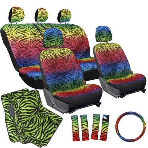 Oxgord 17pc Rainbow Zebra Seat Cover Set Lime Green Zebra