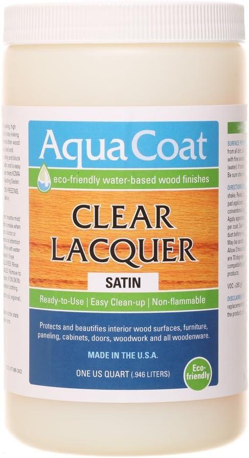 AQUA COAT Clear Lacquer, Water-Based Wood Finish (Satin)