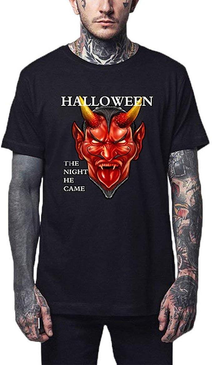 POLP Halloween Hombre Camisetas de Manga Corta con Estampado de Calabaza Disfraz Halloween Tops T-Shirt Cuello Redondo Casual Delgado Slim Fit: Amazon.es: Ropa y accesorios