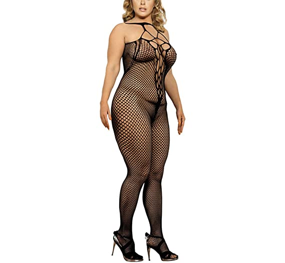 f116eda906b YAXIUFEN Sexy Lingerie Diamond Net Suspender Fishnet Bodystocking Plus Size  Lingerie Black