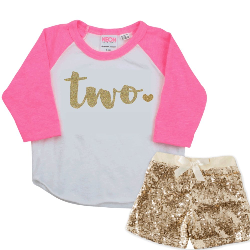 Two Year Old Birthday Girl Outfit, Girl Second Birthday Shirt (2T)