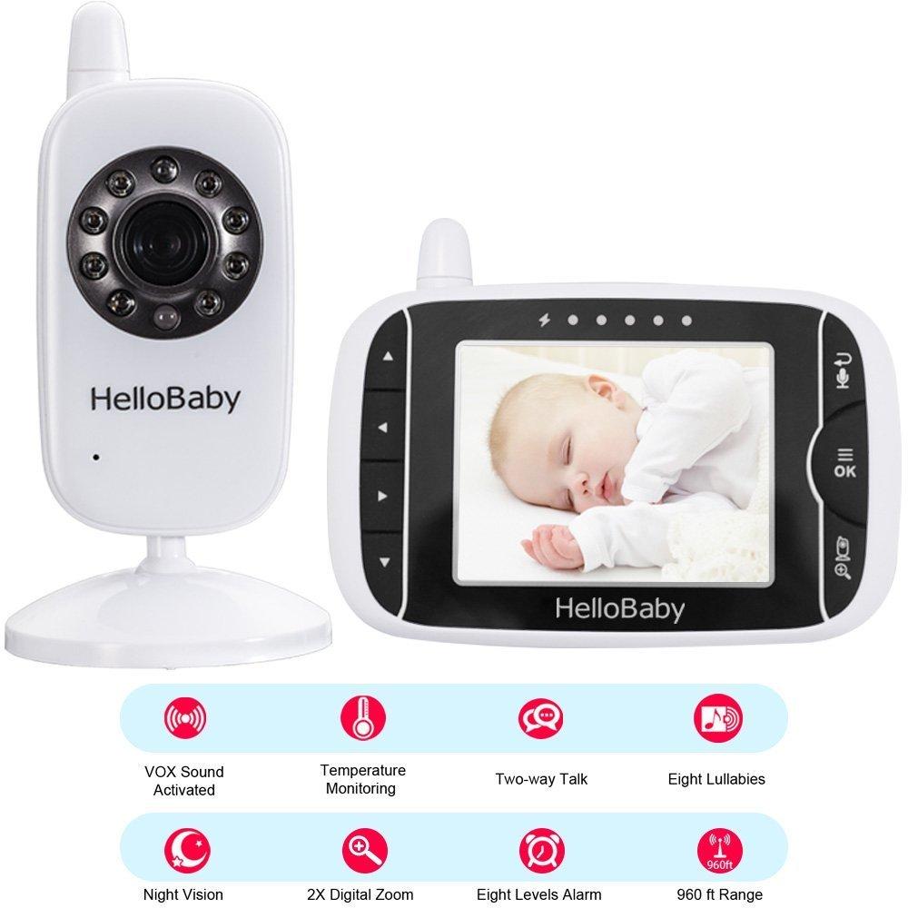 HelloBaby Monitor Video sin Hilos del Bebé de con la Cámara de Digitaces, Supervisión de la Temperatura de la Visión Nocturna y Sistema de la Manera 2 ...