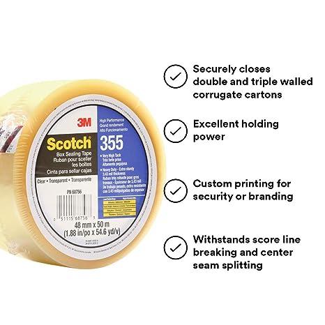 48 mm x 50 m Scotch 98612 Box Sealing Tape 355 Clear