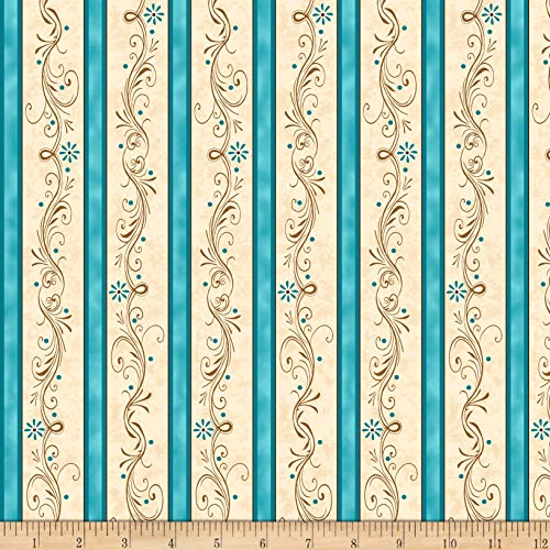 QT Fabrics  Amazing Grace Decorative Scroll Stripe Teal Fabric by the -