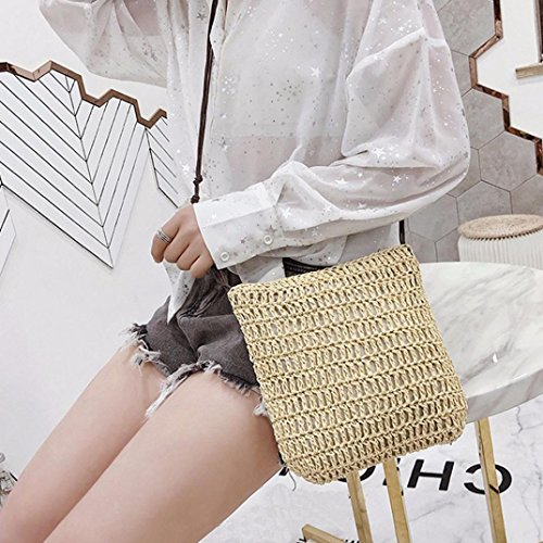 Weave Body Leather Messenger Bags Crossbody Bag Cross Bag Bag Khaki Shoulder Womens Vintage Zp40xq1