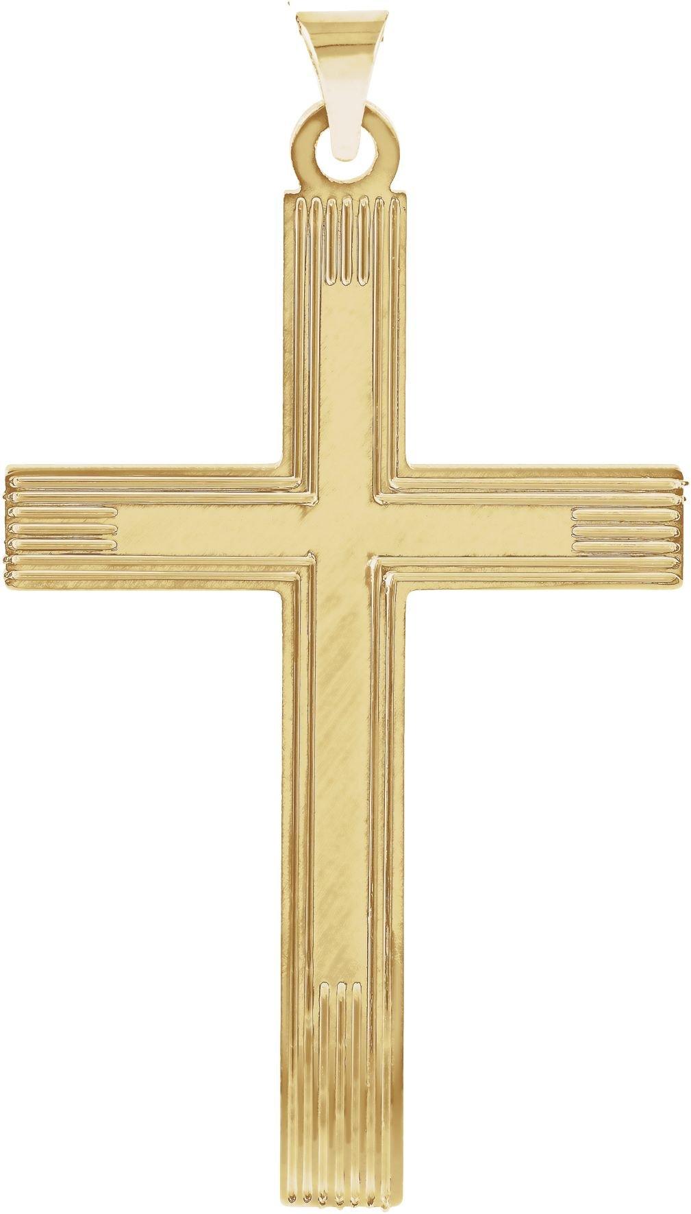 Cross with Embossed Cross Inside the Cross 14k Yellow Gold Pendant