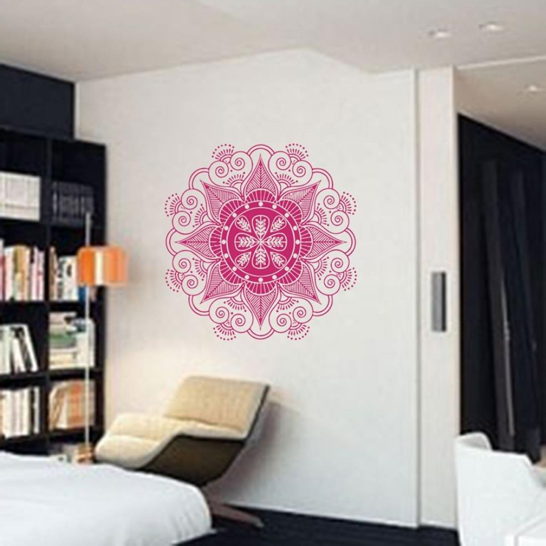 Naladoo Naladoo Mandala Flower Indian Bedroom Wall Decal Art Stickers Mural Home Vinyl Family 22.4 x 22.4 (Black) IU32566436436