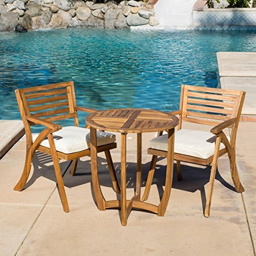 Patio Furniture Sets,Outdoor Bistro Sets,Brown Contemporary,Modern,Coronado Outdoor 3-piece Acacia Wood Round Bistro Set with Cushions