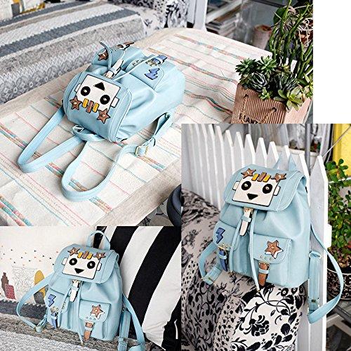 Mochila para mujer de las muchachas de las señoras Pumping Belt Mochila Hembra 2017 Nueva Versión Coreana De La Pu Lindo Suave Superficial Costura Ocio Viajes Bolsa (25 * 12 * 27Cm) (Azul)
