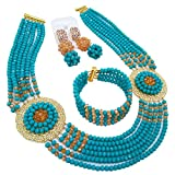 aczuv Nigerian Beads Jewelry Set African Necklaces for Women Crystal Bridal Wedding Jewelry Sets (Aqua Blue Champagne Gold AB)