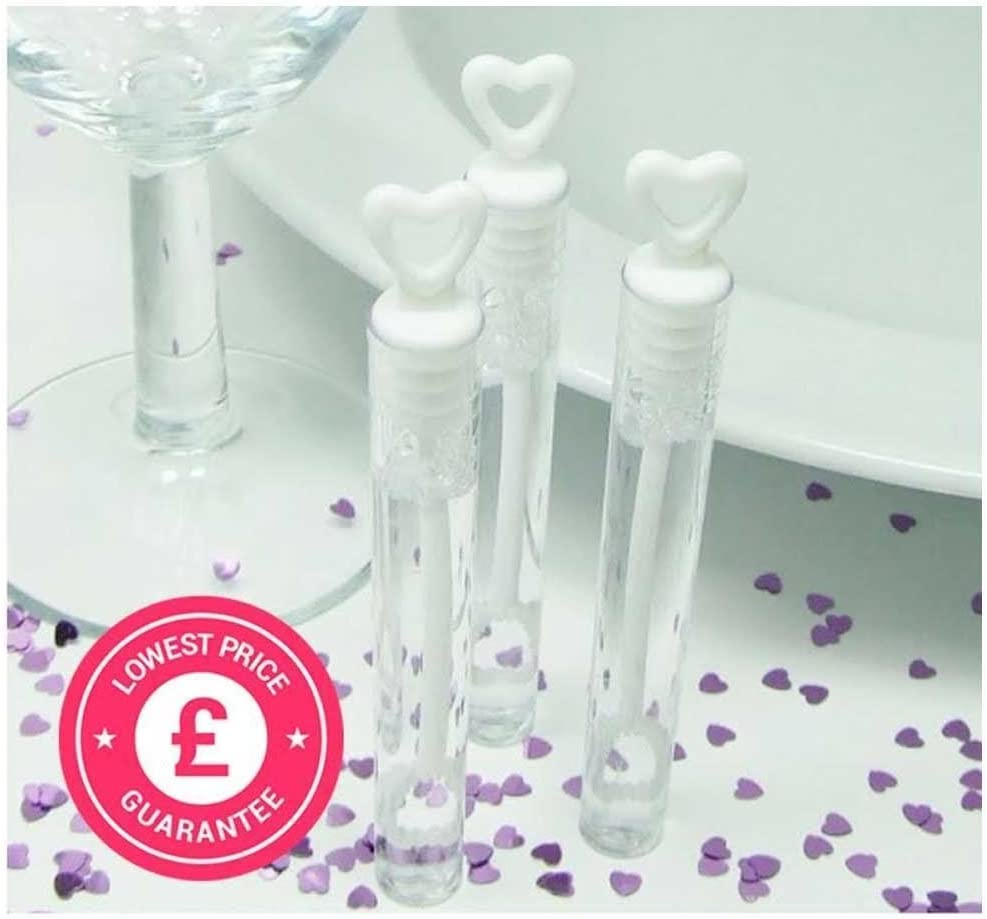 White Pack Of 24 SHATCHI 6139 24 Wedding Wand Heart Tube Bubble Favours Table Decoration Party Accessories
