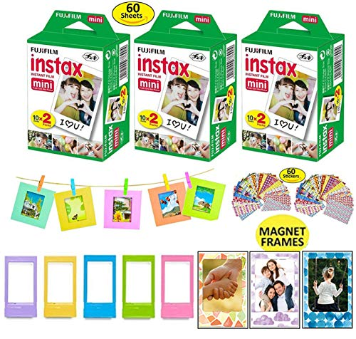 Fujifilm Instax Camera Mini Instant Film Sheets, 3 Twin Packs (60 Total Pictures) + 5 Picture Frames + 3 Magnet Frames (May Vary) + 10 Paper Frames + 60 Sticker Frames.