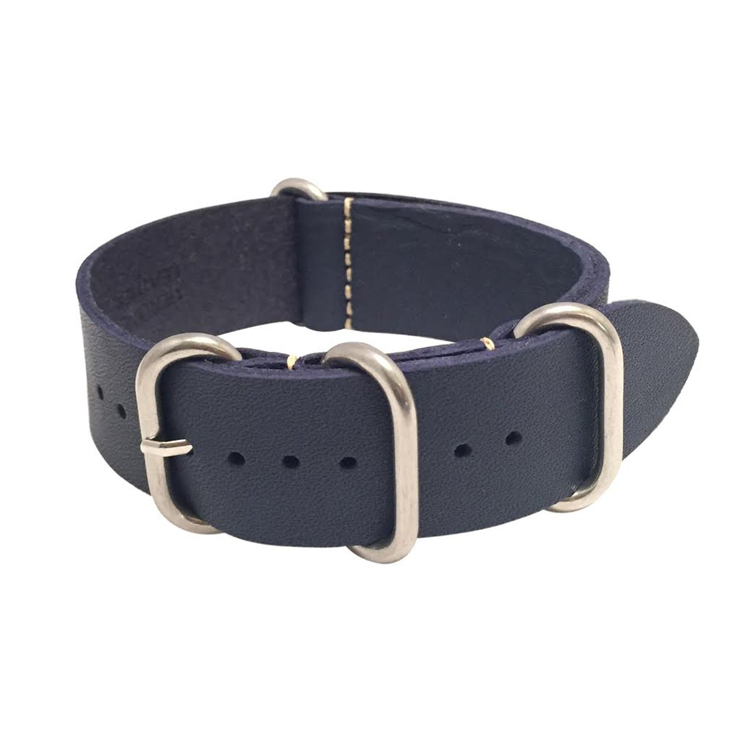 W&S Leather Zulu Watch Strap - Zulu Buckle (22mm, Dark Blue)