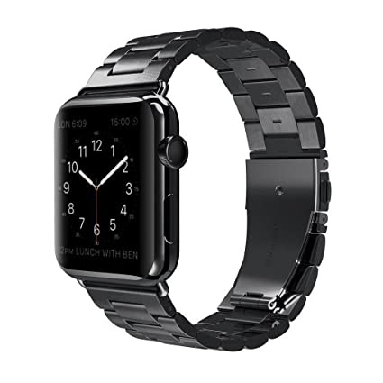 Stainless Steel Smart Watch Replacement Band Compatible for Apple iWatch Series 3/2/1 Nike+ Sport Edition Apple Watch Band - 38mm Black