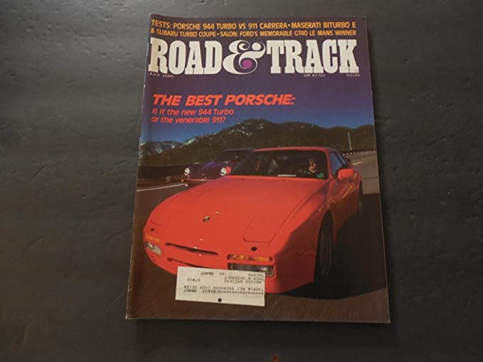 Road Track Jul 1985 Porsche 944 Turbo vs 911; Maserati Biturbo E