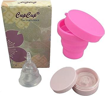 Copa menstrual plegable (x2) patentado y certificado por la CE. Suave/blando. Con el esterilizador plegable + caja de transporte. Transparente. ...