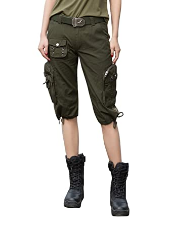 e5e9fbdd5cc2 AUSZOSLT Women's Casual Multi-Pockets Loose Fit Cargo Shorts: Amazon.co.uk:  Clothing
