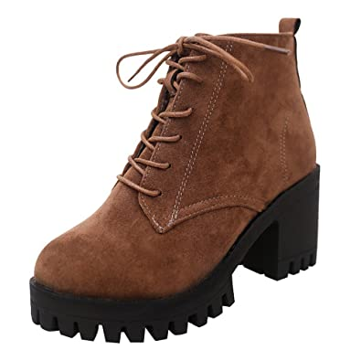 Ansenesna Stiefeletten Damen Mit Absatz Braun Schwarz Wildleder Elegant  Schuhe Zum Schnüren Frauen Mädchen Boots Blockabsatz b5970aa173