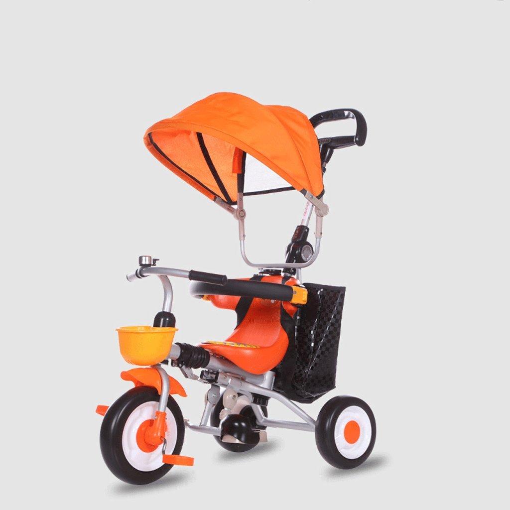 子供用三輪車軽量折りたたみ自転車赤ちゃんバイク1-6ベビーカー、ブラウン、オレンジ、73 * 46 * 106cm ( Color : Orange ) B07C68ZC6F