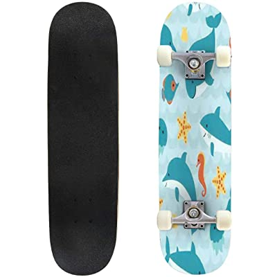 Classic Concave Skateboard Seamless Pattern with Cute Cartoon sea Creatures on Blue Wave Longboard Maple Deck Extreme Sports and Outdoors Double Kick Trick for Beginners and Professionals : Sports & Outdoors