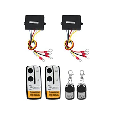 shsyue 2PCS Wireless Winch Remote Control Kit 12V for Truck Jeep SUV ATV 50Ft: Automotive