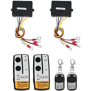 shsyue 2pcs wireless winch remote control kit 12v for truck jeep suv atv  50ft