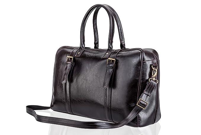 Solier hommes en cuir véritable sac de voyage sac à bandoulière week-end sac de sport haut de gamme SL16 (Noir) NjwVUC1mk