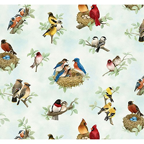 (Beautiful Birds by Tracy Lizotte from Elizabeth's Studio 100% Cotton Quilt Fabric By the Yard 4310 Azure Bird)