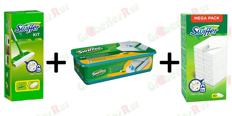 Swiffer Kit 1 Mopa de Suelo con 8 Dusters + 24 Ropa húmeda + Recambios de Duster 80s - Paquete: Amazon.es: Hogar